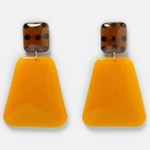 Orange Brown Retro Geometric Statement Earrings